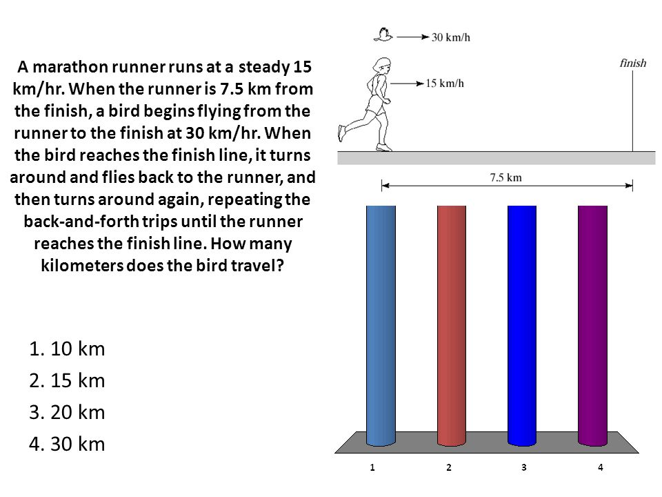 A marathon runner runs at a steady 15 km/hr. When the runner is 7.5 km from the finish, a bird begins flying from the runner to the finish at 30 km/hr