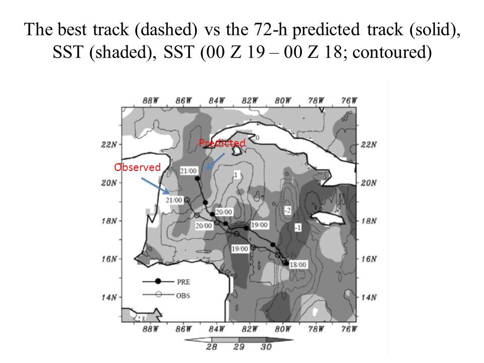 NASA/GSFC, 26 March 2012 The best track (dashed) vs the 72-h predicted track (solid), SST (shaded), SST (00 Z 19 – 00 Z 18; contoured) Observed Predicted