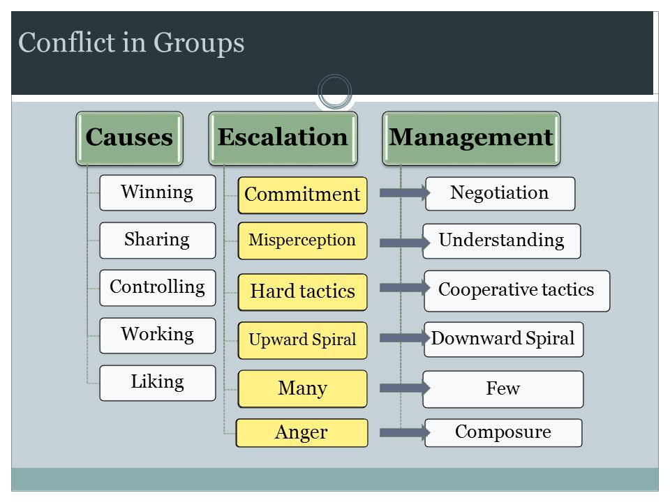 Conflict in Groups Causes WinningSharingControllingWorkingLiking Escalation UncertaintyPerceptionSoft tacticsReciprocityFew Irritation Management Negotiation Understanding Cooperative tactics Downward Spiral Few Composure Commitment Misperception Hard tactics Upward Spiral Many Anger