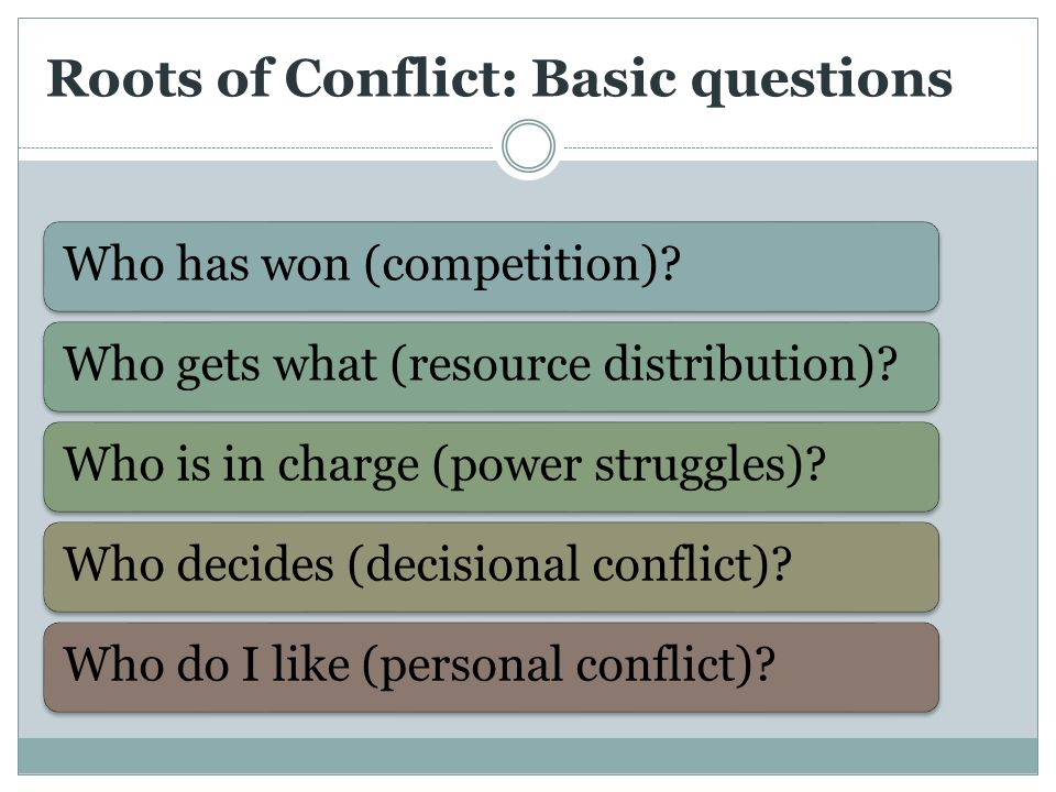 Roots of Conflict: Basic questions Who has won (competition) Who gets what (resource distribution) Who is in charge (power struggles) Who decides (decisional conflict) Who do I like (personal conflict)