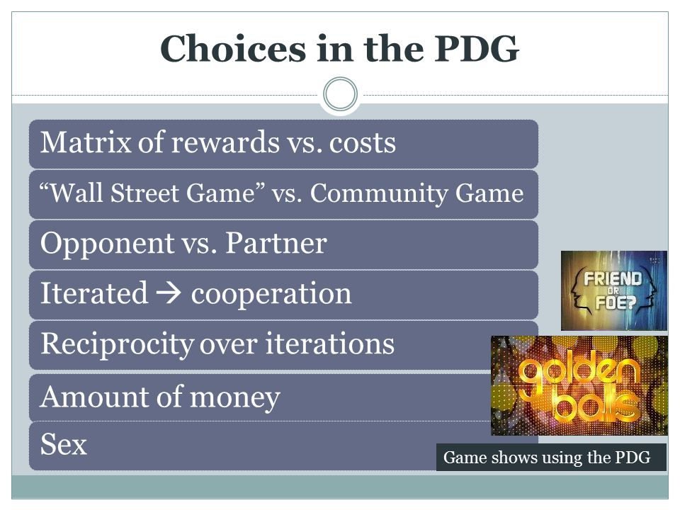 Matrix of rewards vs. costs Wall Street Game vs.