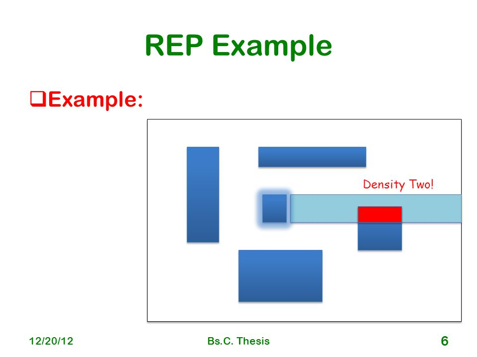 REP Example  Example: 12/20/12Bs.C. Thesis 6 Density Two!