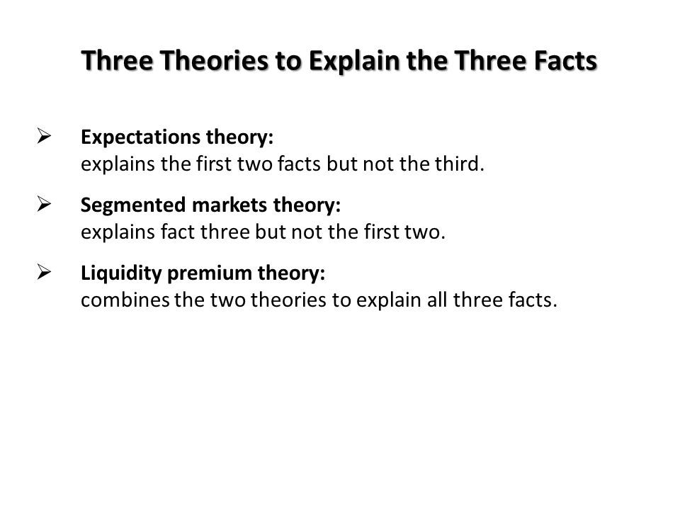 Three Theories to Explain the Three Facts  Expectations theory: explains the first two facts but not the third.  Segmented markets theory: explains