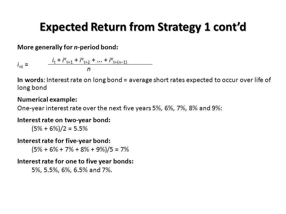Expected Return from Strategy 1 cont'd More generally for n-period bond: i t + i e t+1 + i e t+2 +... + i e t+(n–1) i nt = n In words: Interest rate o