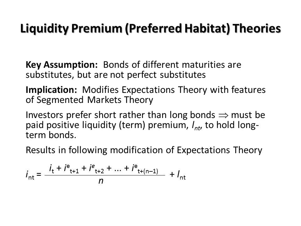 Liquidity Premium (Preferred Habitat) Theories Key Assumption: Bonds of different maturities are substitutes, but are not perfect substitutes Implicat