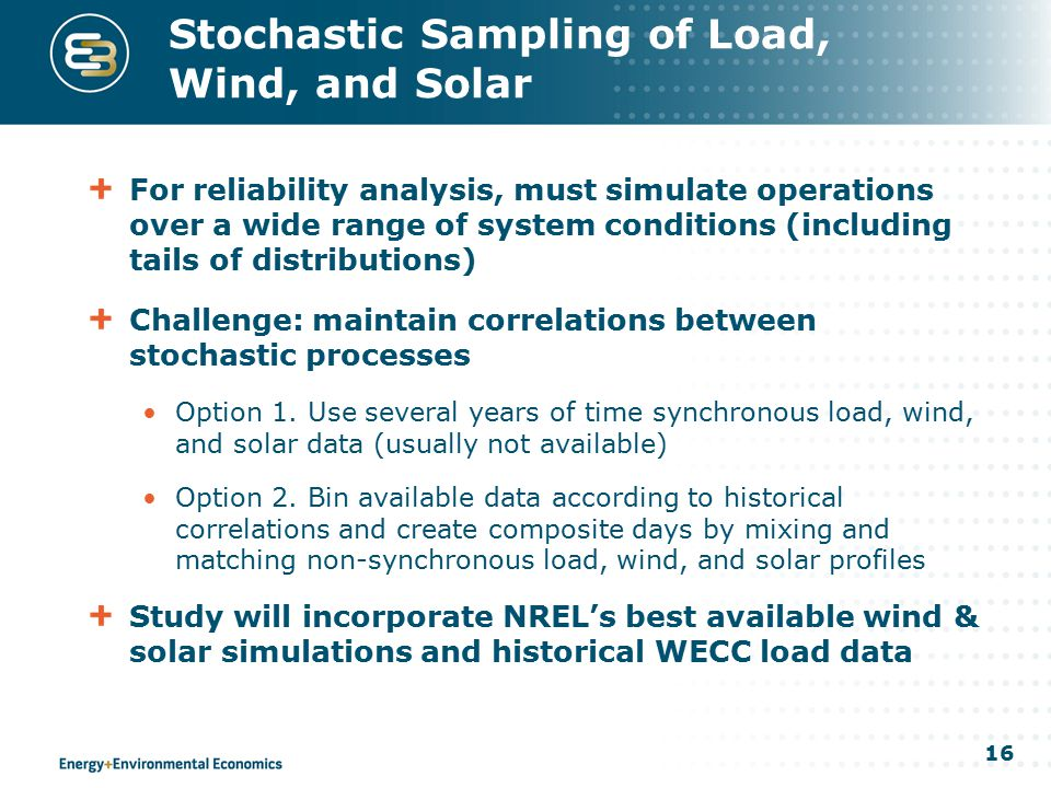 16 Stochastic Sampling of Load, Wind, and Solar For reliability analysis, must simulate operations over a wide range of system conditions (including t