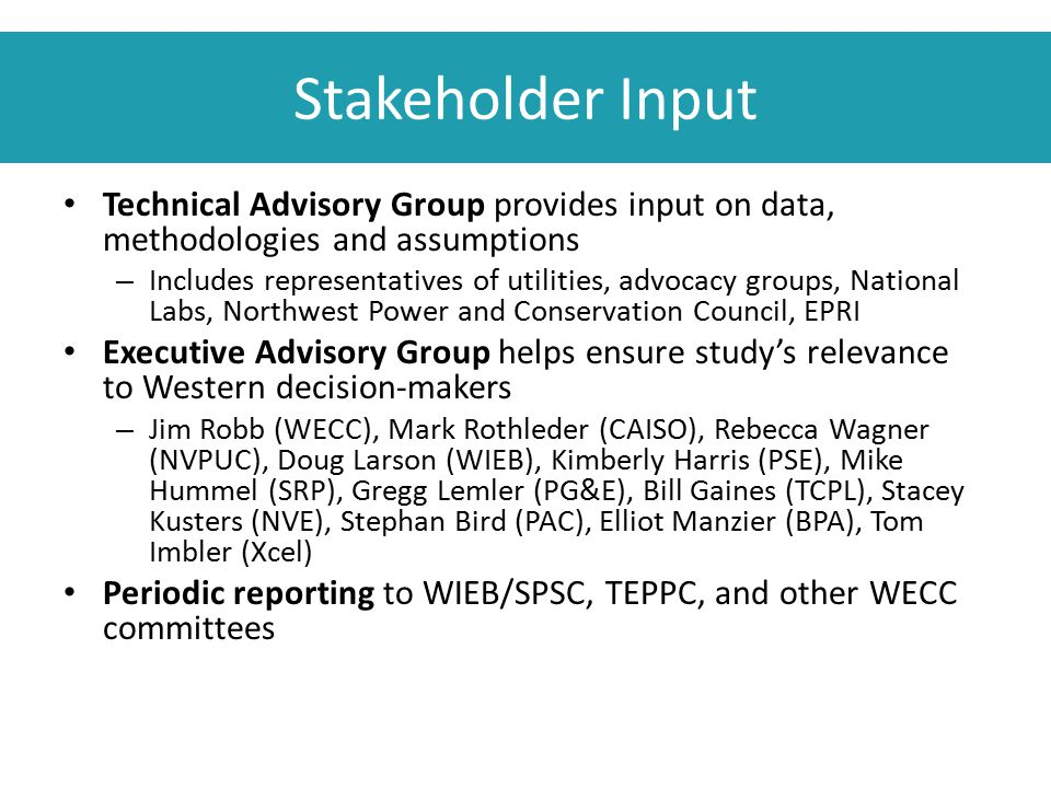 Stakeholder Input Technical Advisory Group provides input on data, methodologies and assumptions – Includes representatives of utilities, advocacy gro