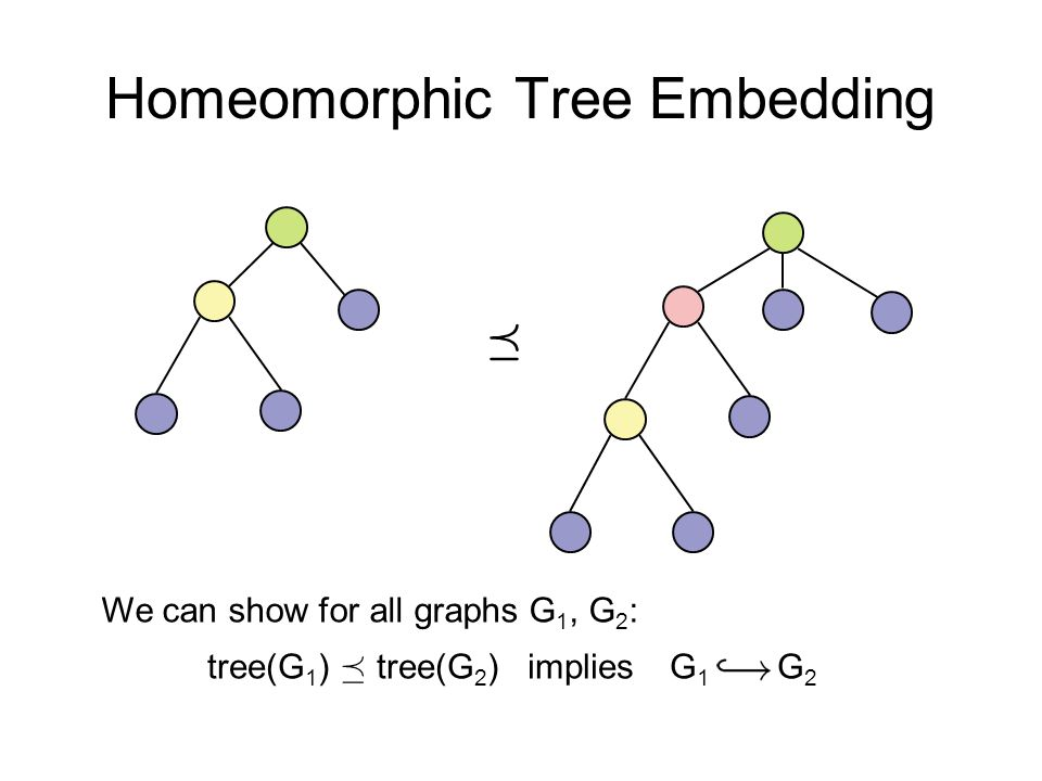 Homeomorphic Tree Embedding ¹ tree(G 1 ) ¹ tree(G 2 ) implies G 1 G 2 We can show for all graphs G 1, G 2 :