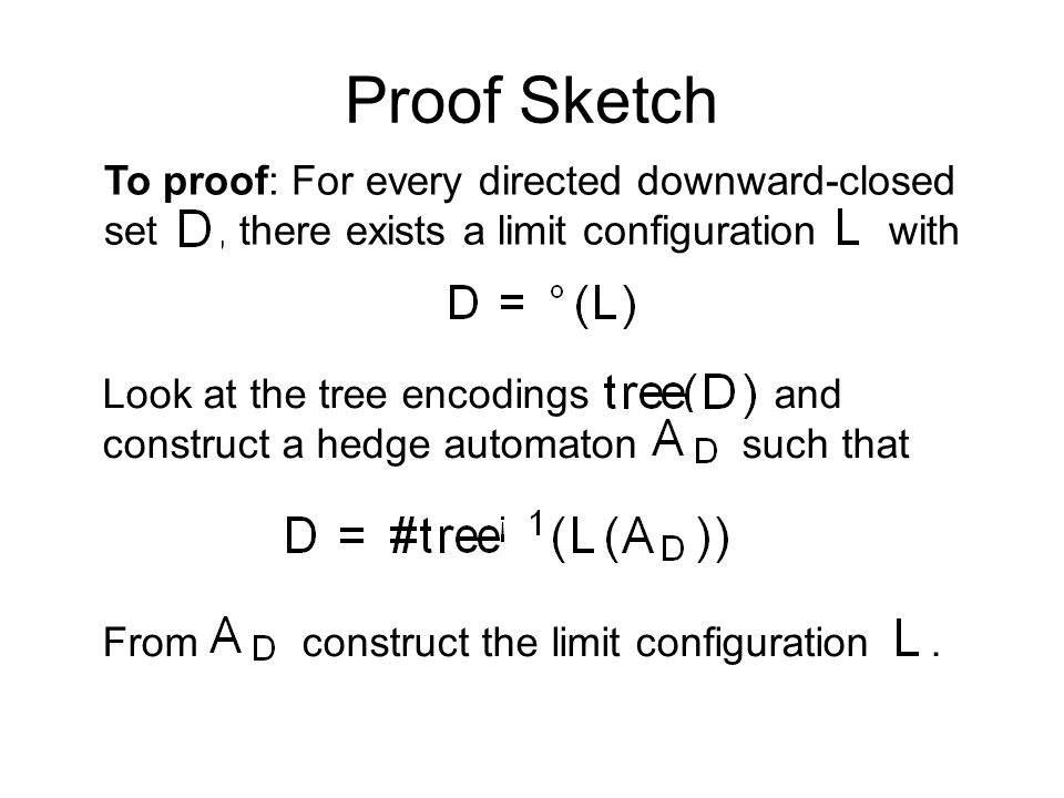 To proof: For every directed downward-closed set, there exists a limit configuration with Proof Sketch Look at the tree encodings and construct a hedge automaton such that From construct the limit configuration.