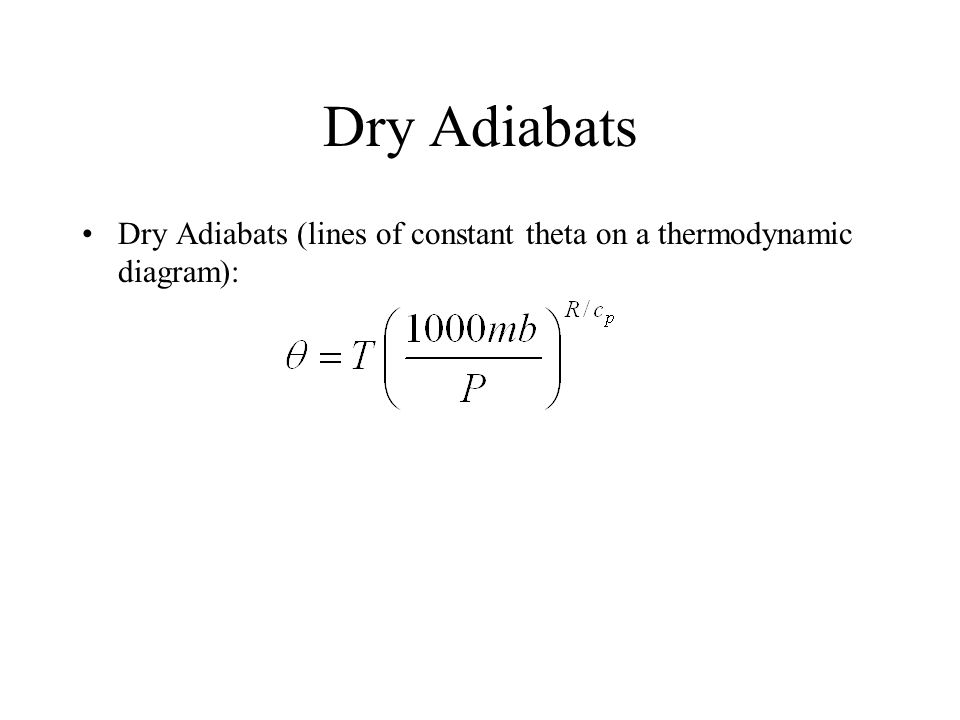 Dry Adiabats Dry Adiabats (lines of constant theta on a thermodynamic diagram):
