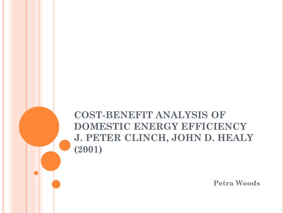 COST-BENEFIT ANALYSIS OF DOMESTIC ENERGY EFFICIENCY J.