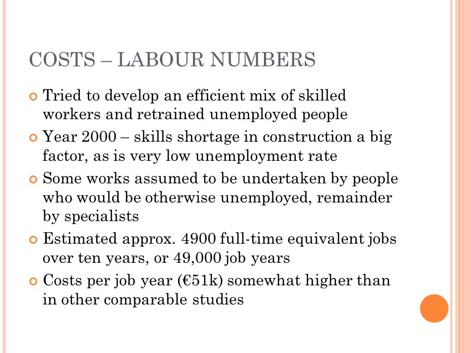 COSTS – LABOUR NUMBERS Tried to develop an efficient mix of skilled workers and retrained unemployed people Year 2000 – skills shortage in construction a big factor, as is very low unemployment rate Some works assumed to be undertaken by people who would be otherwise unemployed, remainder by specialists Estimated approx.