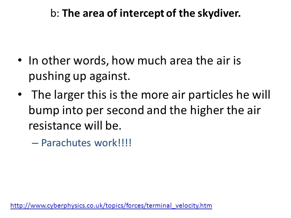 b: The area of intercept of the skydiver.