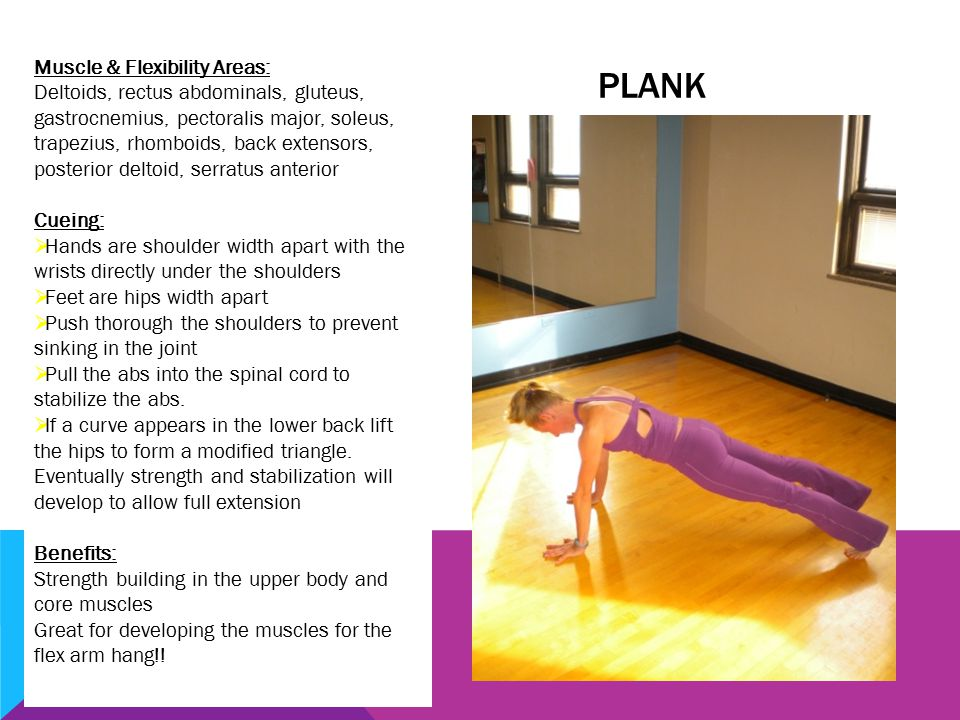 PLANK Muscle & Flexibility Areas: Deltoids, rectus abdominals, gluteus, gastrocnemius, pectoralis major, soleus, trapezius, rhomboids, back extensors, posterior deltoid, serratus anterior Cueing:  Hands are shoulder width apart with the wrists directly under the shoulders  Feet are hips width apart  Push thorough the shoulders to prevent sinking in the joint  Pull the abs into the spinal cord to stabilize the abs.
