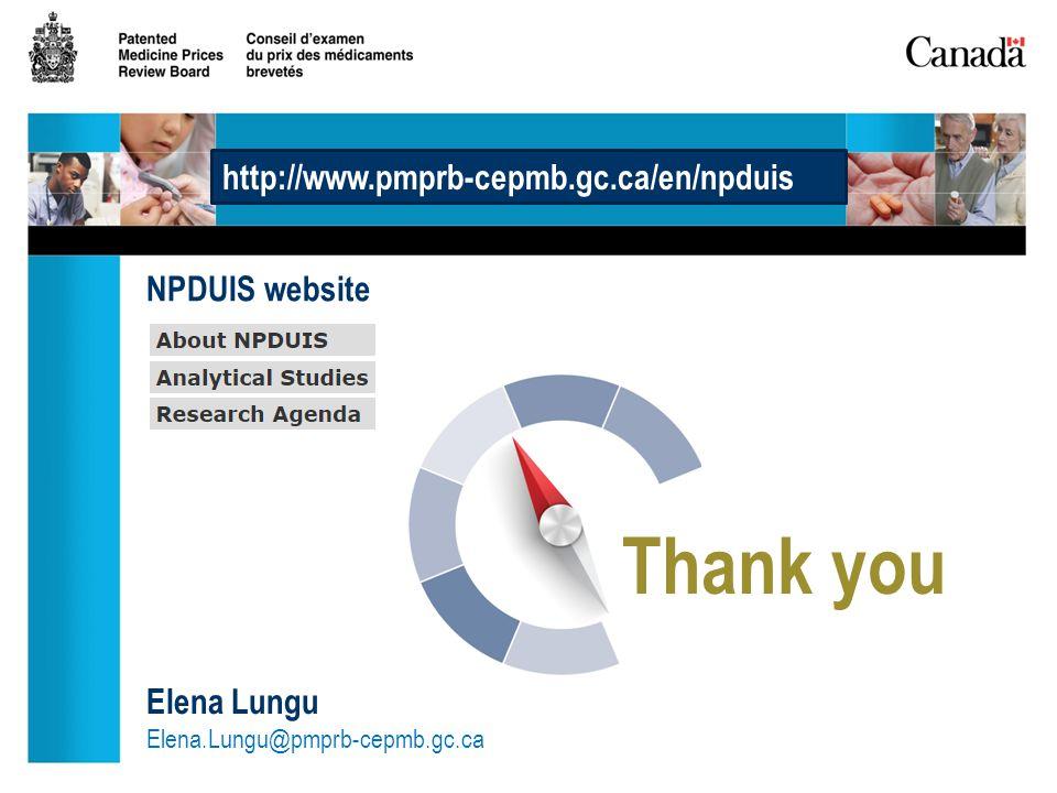 Thank you Elena Lungu Elena.Lungu@pmprb-cepmb.gc.ca http://www.pmprb-cepmb.gc.ca/en/npduis NPDUIS website