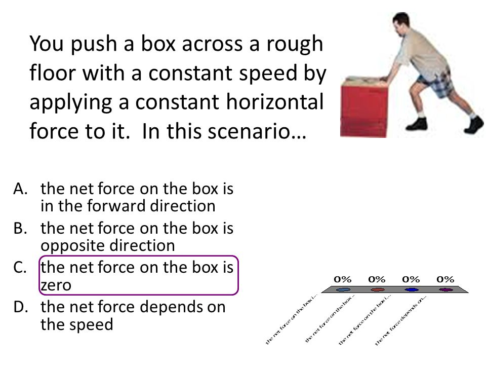 You push a box across a rough floor with a constant speed by applying a constant horizontal force to it.