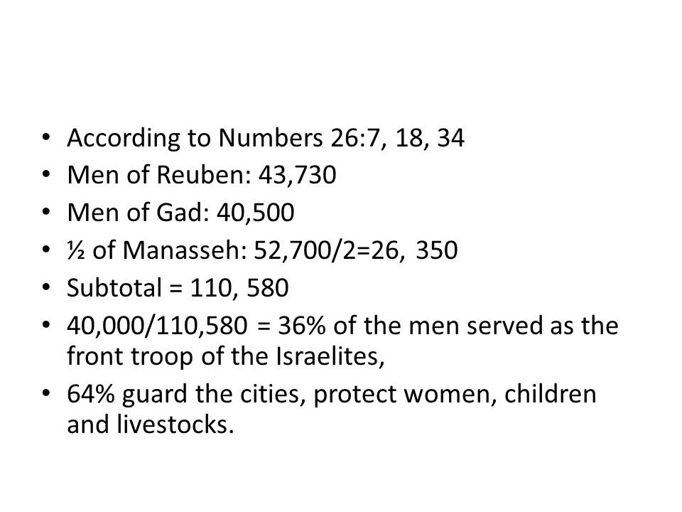 According to Numbers 26:7, 18, 34 Men of Reuben: 43,730 Men of Gad: 40,500 ½ of Manasseh: 52,700/2=26, 350 Subtotal = 110, 580 40,000/110,580 = 36% of the men served as the front troop of the Israelites, 64% guard the cities, protect women, children and livestocks.