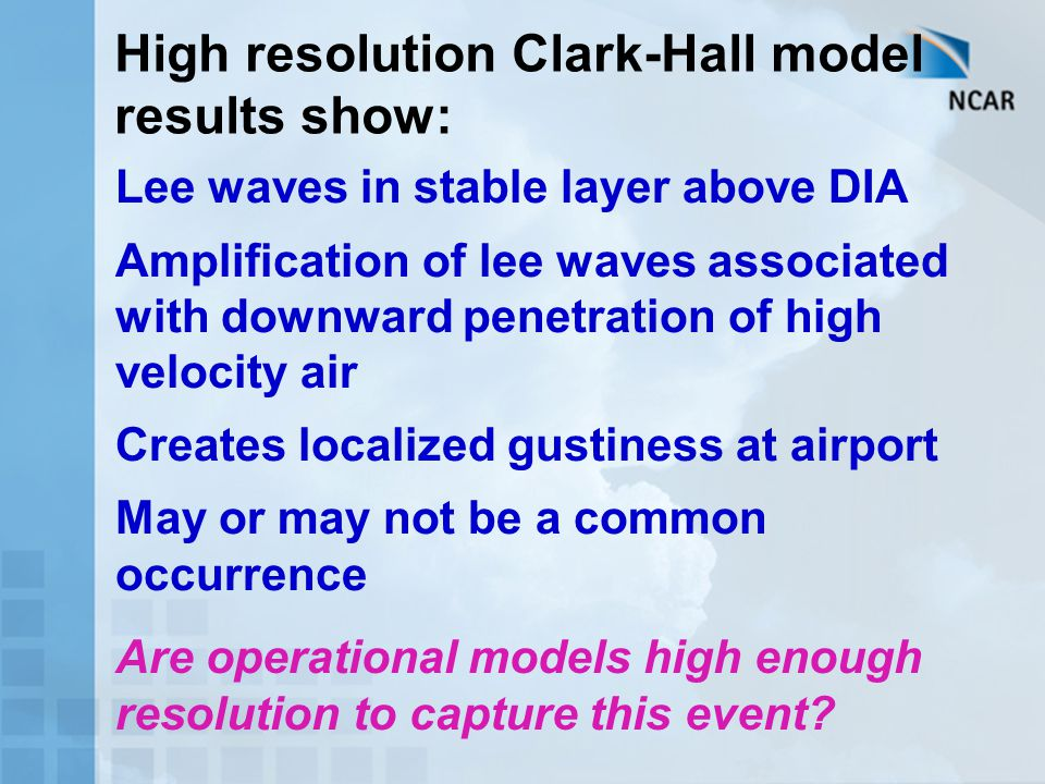 High resolution Clark-Hall model results show: Lee waves in stable layer above DIA Amplification of lee waves associated with downward penetration of