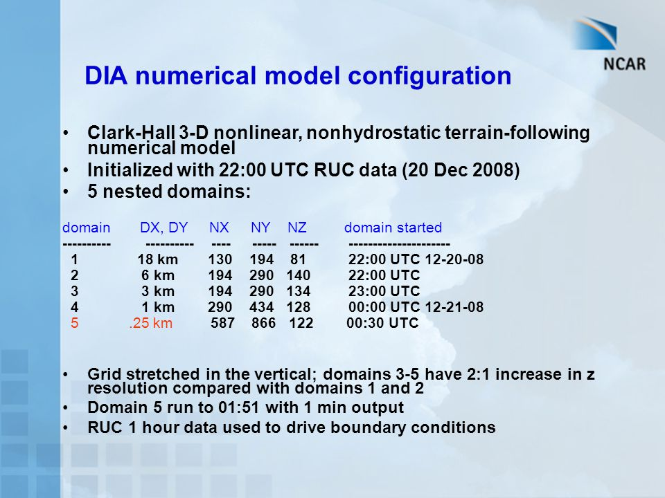 DIA numerical model configuration Clark-Hall 3-D nonlinear, nonhydrostatic terrain-following numerical model Initialized with 22:00 UTC RUC data (20 Dec 2008) 5 nested domains: domain DX, DY NX NY NZ domain started ---------- ---------- ---- ----- ------ --------------------- 1 18 km 130 194 81 22:00 UTC 12-20-08 2 6 km 194 290 140 22:00 UTC 3 3 km 194 290 134 23:00 UTC 4 1 km 290 434 128 00:00 UTC 12-21-08 5.25 km 587 866 122 00:30 UTC Grid stretched in the vertical; domains 3-5 have 2:1 increase in z resolution compared with domains 1 and 2 Domain 5 run to 01:51 with 1 min output RUC 1 hour data used to drive boundary conditions