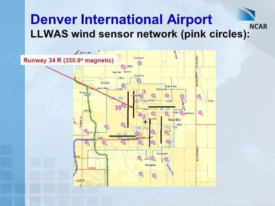 Denver International Airport LLWAS wind sensor network (pink circles): Runway 34 R (350.9 o magnetic) 2 3 29