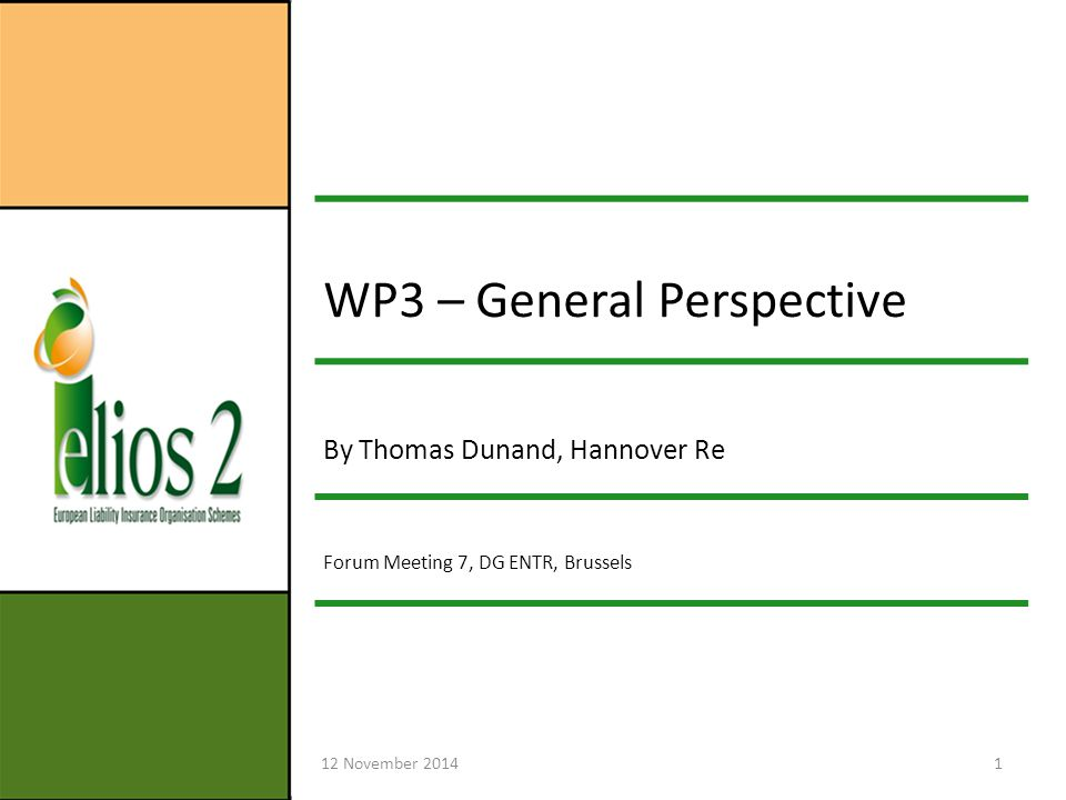 12 November 20141 WP3 – General Perspective By Thomas Dunand, Hannover Re Forum Meeting 7, DG ENTR, Brussels