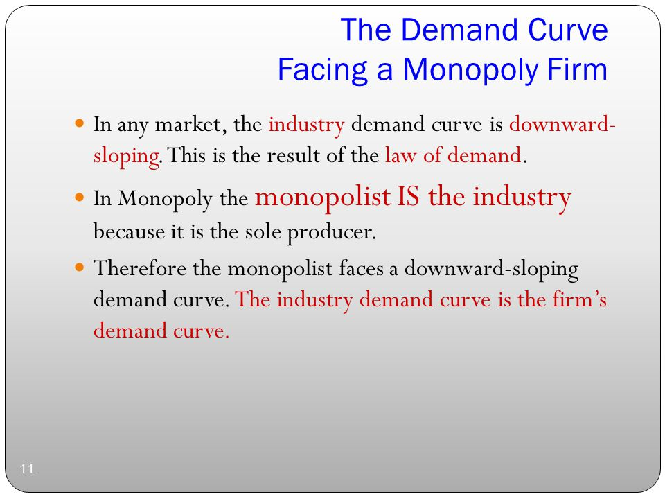 The Demand Curve Facing a Monopoly Firm 11 In any market, the industry demand curve is downward- sloping.
