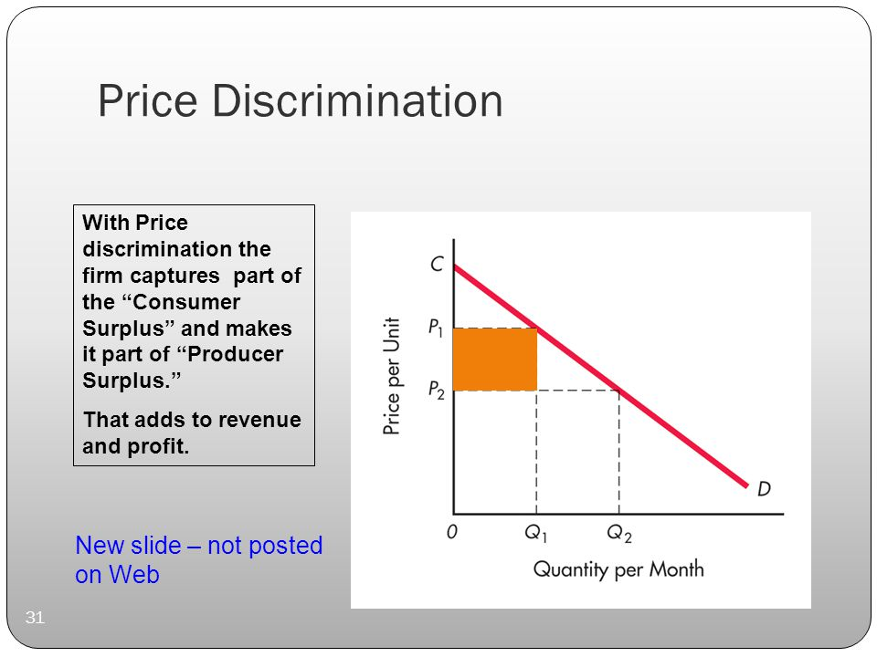 Price Discrimination 31 With Price discrimination the firm captures part of the Consumer Surplus and makes it part of Producer Surplus. That adds to revenue and profit.