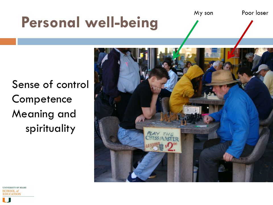Personal well-being Sense of control Competence Meaning and spirituality My sonPoor loser
