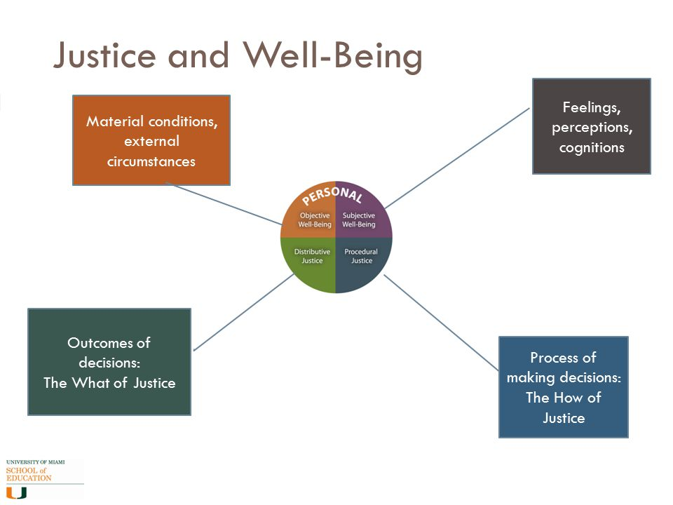 Justice and Well-Being Process of making decisions: The How of Justice Outcomes of decisions: The What of Justice Feelings, perceptions, cognitions Material conditions, external circumstances