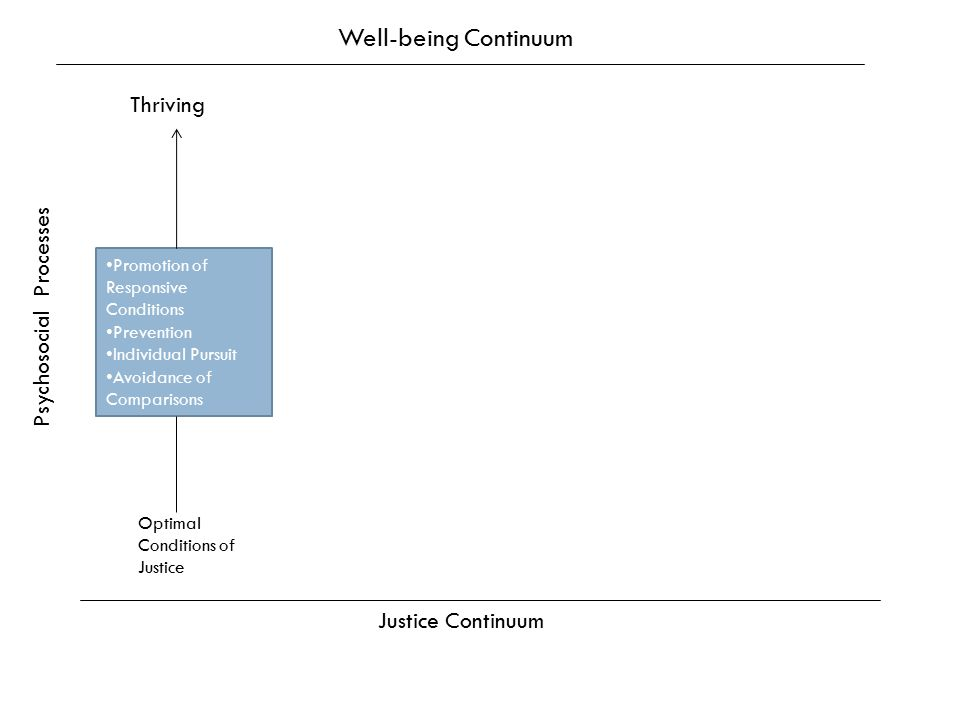 Promotion of Responsive Conditions Prevention Individual Pursuit Avoidance of Comparisons Thriving Well-being Continuum Psychosocial Processes Justice Continuum Optimal Conditions of Justice