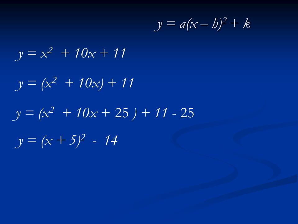 y = x 2 + 10x + 11 y = (x 2 + 10x) + 11 y = (x 2 + 10x + ) + 11 y = (x + 5) 2 - 14 25- 25 y = a(x – h) 2 + k
