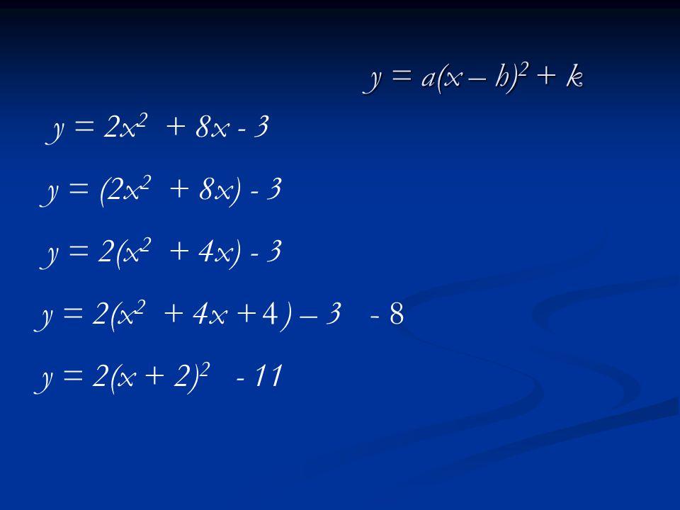 y = 2x 2 + 8x - 3 y = (2x 2 + 8x) - 3 y = 2(x 2 + 4x + ) – 3 y = 2(x + 2) 2 - 11 y = 2(x 2 + 4x) - 3 4- 8 y = a(x – h) 2 + k