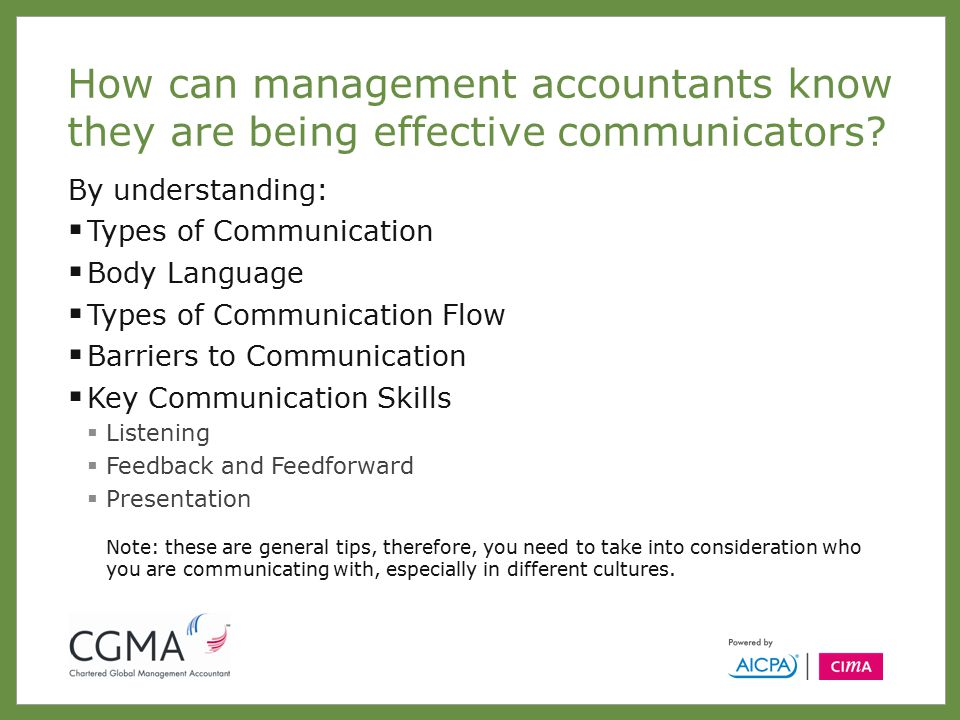 How can management accountants know they are being effective communicators.