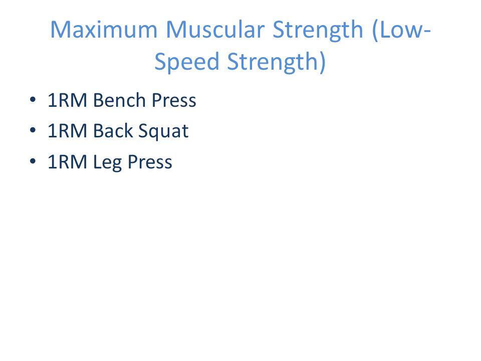 Maximum Muscular Strength (Low- Speed Strength) 1RM Bench Press 1RM Back Squat 1RM Leg Press