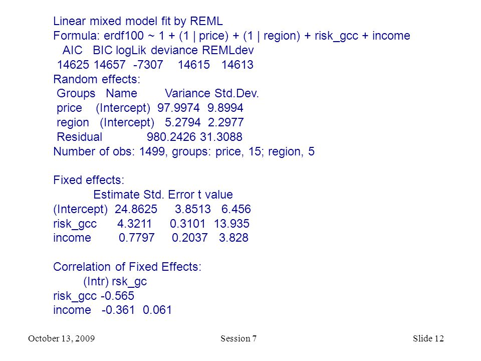 October 13, 2009 Session 7Slide 12 Linear mixed model fit by REML Formula: erdf100 ~ 1 + (1 | price) + (1 | region) + risk_gcc + income AIC BIC logLik deviance REMLdev 14625 14657 -7307 14615 14613 Random effects: Groups Name Variance Std.Dev.