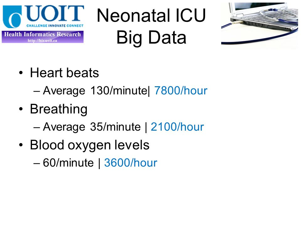 Neonatal ICU Big Data Heart beats –1 value /hour (7799 lost) Breathing –Average 35/minute | 2100/hour Blood oxygen levels –60/minute | 3600/hour