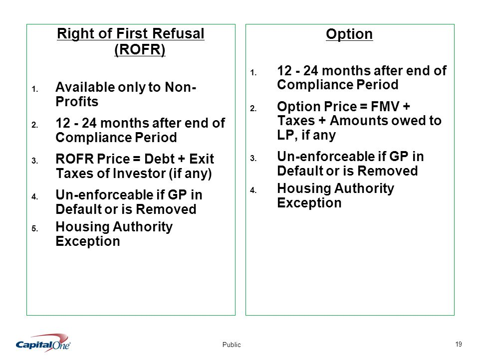 19 Public Right of First Refusal (ROFR) 1. Available only to Non- Profits 2.