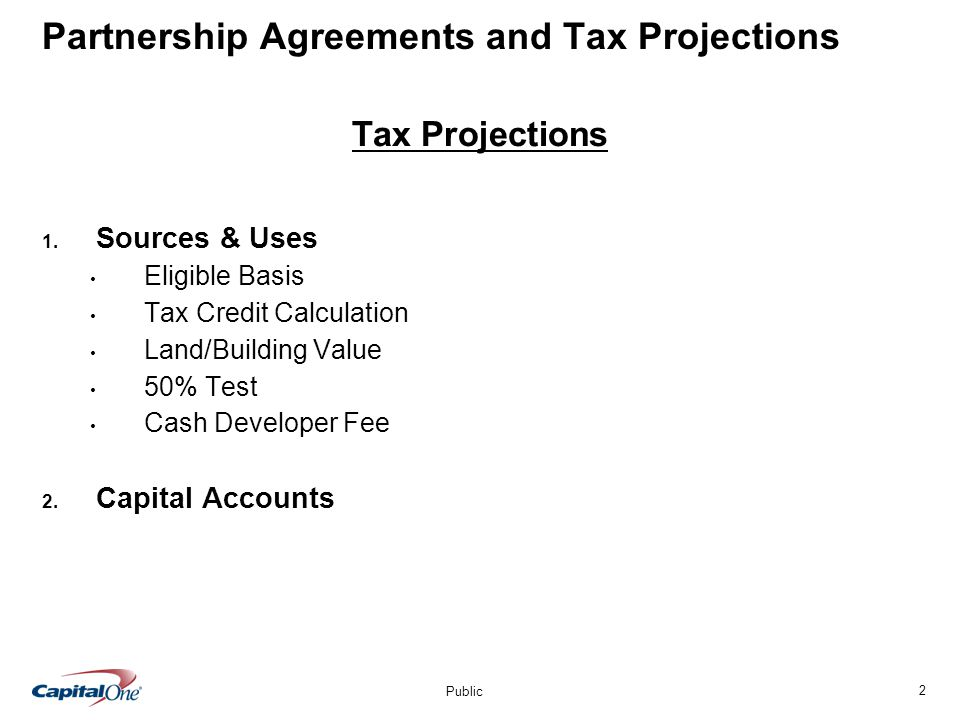 2 Public Partnership Agreements and Tax Projections Tax Projections 1.