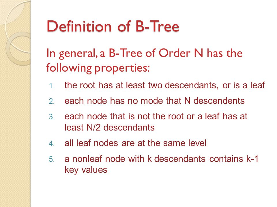 Definition of B-Tree In general, a B-Tree of Order N has the following properties: 1. the root has at least two descendants, or is a leaf 2. each node