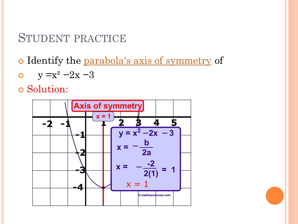 S TUDENT PRACTICE Identify the parabola s axis of symmetry ofparabola s axis of symmetry y =x² −2x −3 Solution: