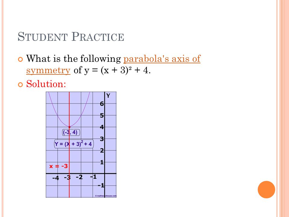 S TUDENT P RACTICE What is the following parabola s axis of symmetry of y = (x + 3)² + 4.parabola s axis of symmetry Solution: