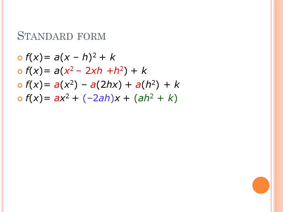 S TANDARD FORM f(x)= a(x – h) 2 + k f(x)= a(x 2 – 2xh +h 2 ) + k f(x)= a(x 2 ) – a(2hx) + a(h 2 ) + k f(x)= ax 2 + (–2ah)x + (ah 2 + k)