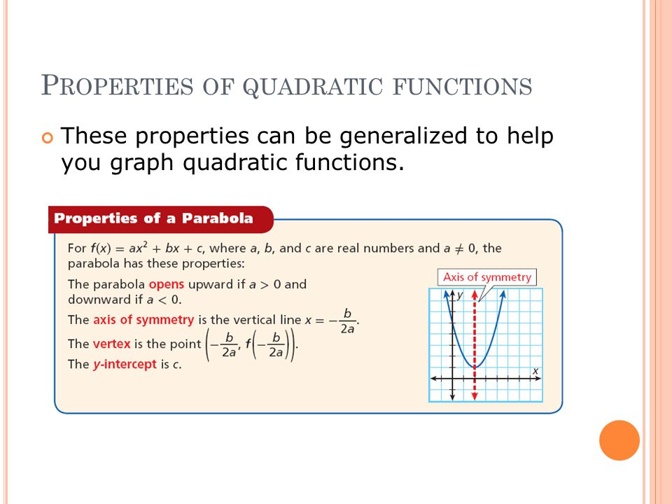 P ROPERTIES OF QUADRATIC FUNCTIONS These properties can be generalized to help you graph quadratic functions.