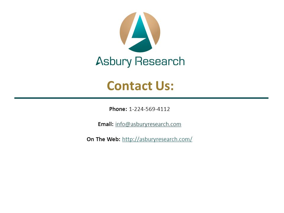 Contact Us: Phone: 1-224-569-4112 Email: info@asburyresearch.com On The Web: http://asburyresearch.com/info@asburyresearch.com