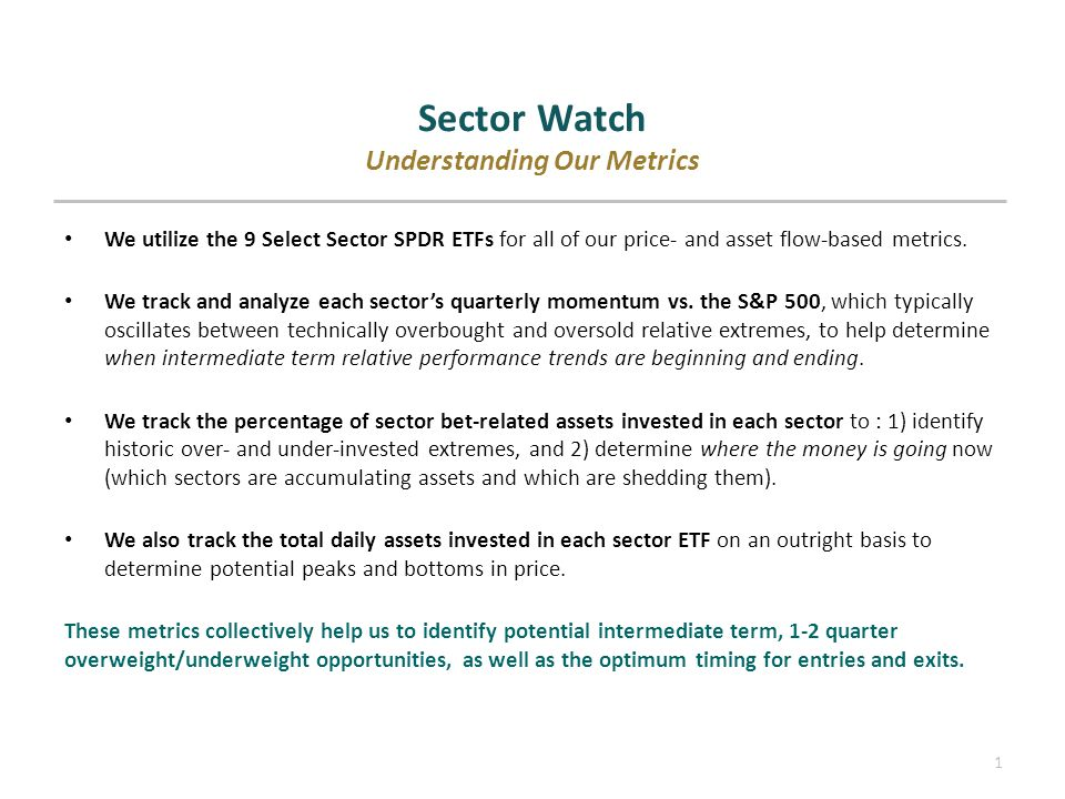 1 Sector Watch Understanding Our Metrics We utilize the 9 Select Sector SPDR ETFs for all of our price- and asset flow-based metrics.