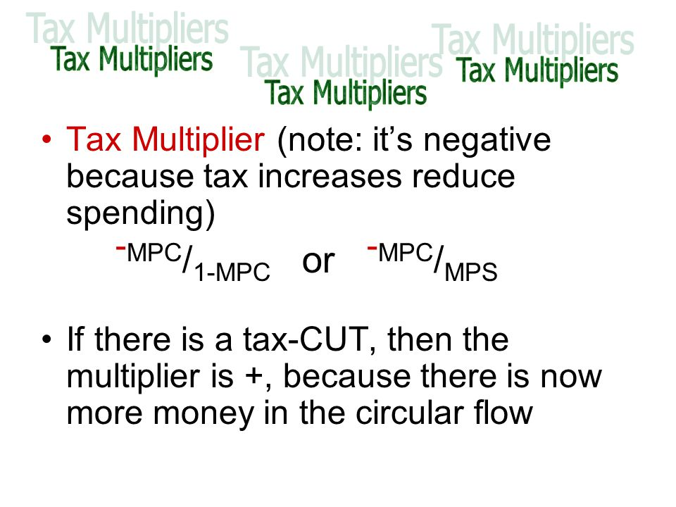 Tax Multiplier (note: it's negative because tax increases reduce spending) - MPC / 1-MPC or - MPC / MPS If there is a tax-CUT, then the multiplier is