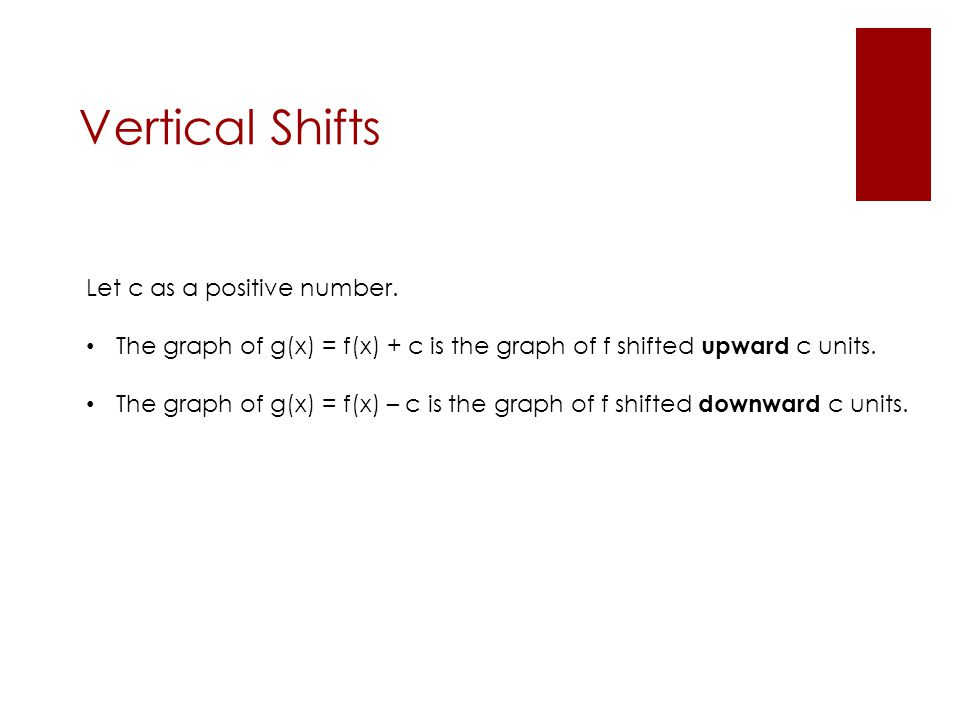 Vertical Shifts Let c as a positive number. The graph of g(x) = f(x) + c is the graph of f shifted upward c units. The graph of g(x) = f(x) – c is the