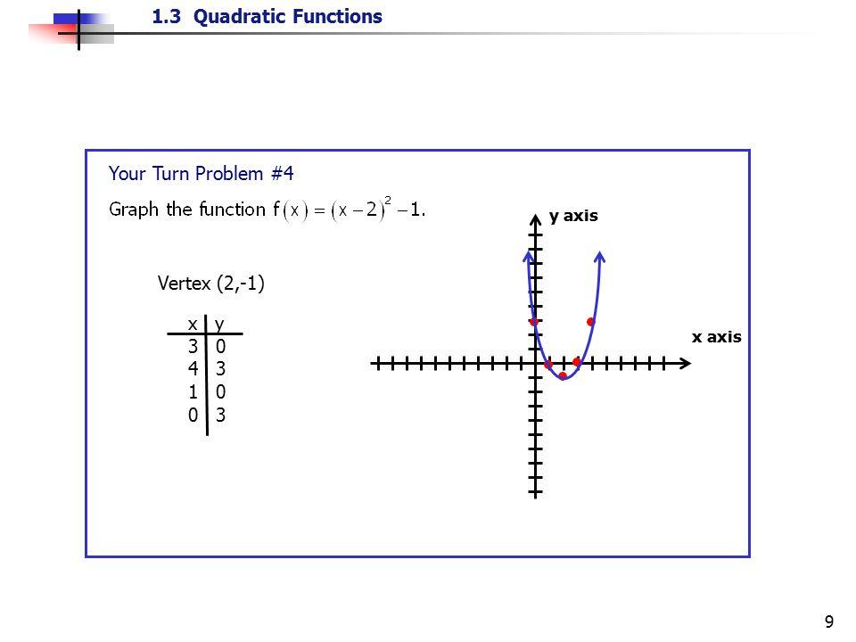 1.3 Quadratic Functions 9 Your Turn Problem #4 x axis y axis Vertex (2,-1) x y 3 0 4 3 1 0 0 3