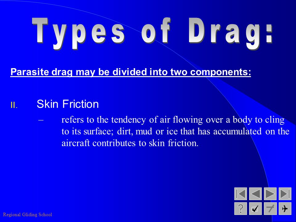 Regional Gliding School Parasite drag may be divided into two components: I. Form Drag –refers to the drag created by the form or shape of a body as i
