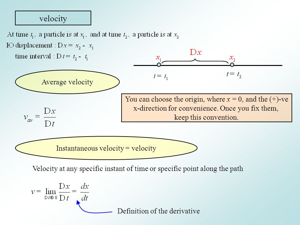 velocity Average velocity You can choose the origin, where x = 0, and the (+)-ve x-direction for convenience. Once you fix them, keep this convention.